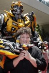 Bumblebee posing for pictures with Glee's Dot Marie Jones