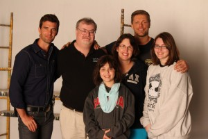 "Lucas Bryant and Adam ""Edge"" Copeland and my family on the set of Haven"